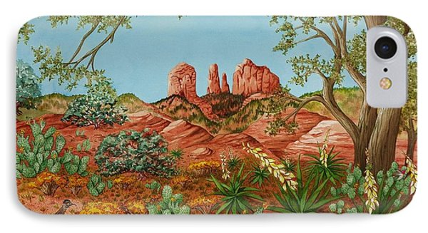 IPhone Case featuring the painting Landscapes Desert Red Rocks Of Sedona Arizona by Katherine Young-Beck