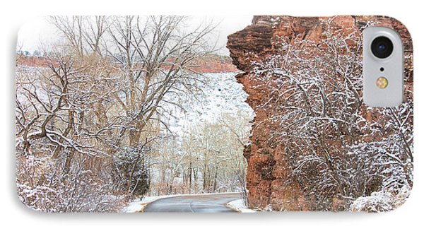 Red Rocks Winter Landscape Drive Phone Case by James BO  Insogna