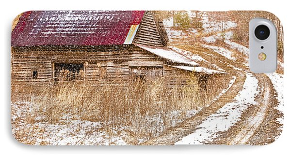 Red Roof In The Snow  Phone Case by Debra and Dave Vanderlaan