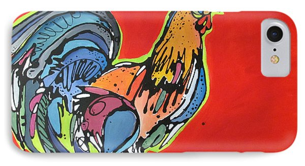 IPhone Case featuring the painting Red Rooster by Nicole Gaitan