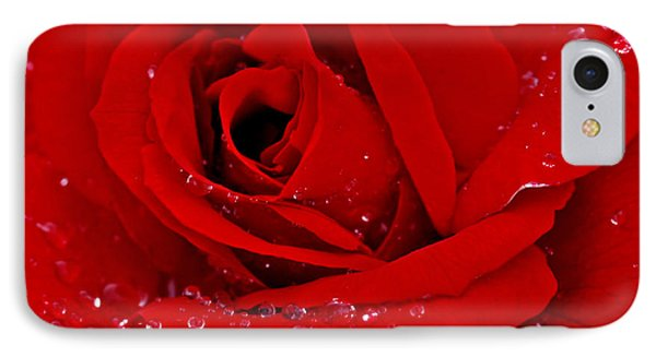 Red Rose And Drops IPhone Case by Gina Dsgn