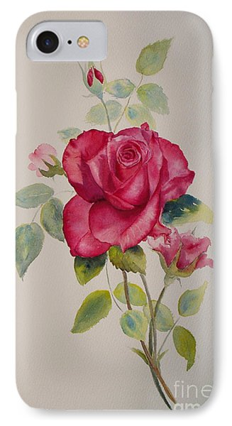 IPhone Case featuring the painting Red Rose by Beatrice Cloake