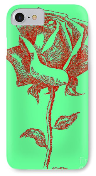 Red Rose Drawings 8 Phone Case by Gordon Punt