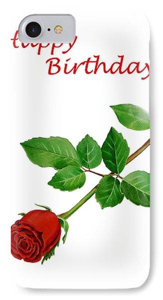 Red Rose Happy Birthday  Phone Case by Irina Sztukowski