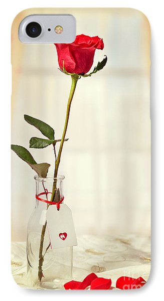 Red Rose In Bottle IPhone Case by Amanda Elwell