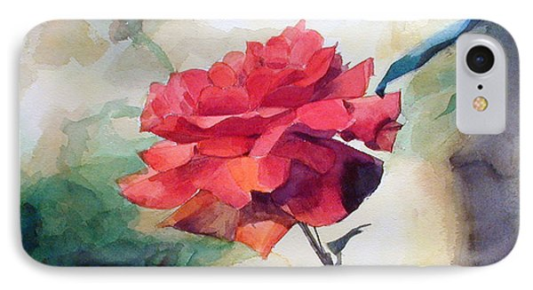 IPhone Case featuring the painting Red Rose On A Branch by Greta Corens