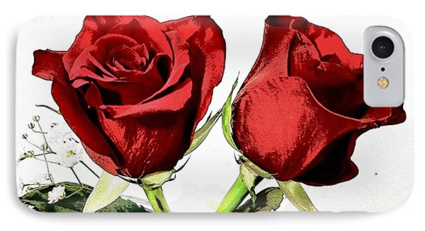 Red Roses 3 IPhone Case by Rose Wang
