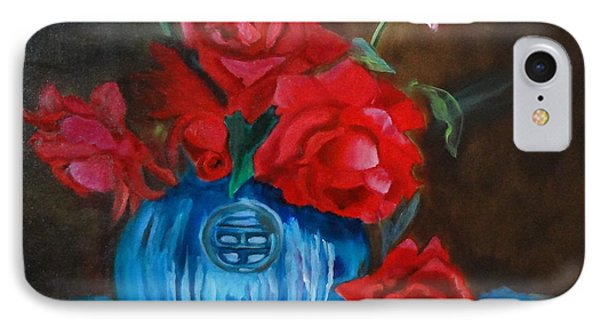 Red Roses And Blue Vase IPhone Case