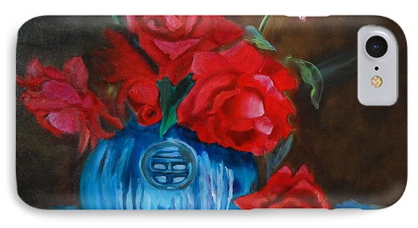IPhone Case featuring the painting Red Roses And Blue Vase by Jenny Lee