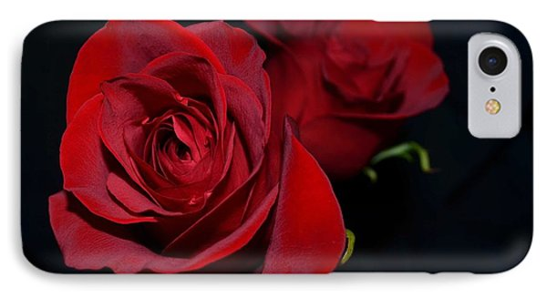 Red Roses For A Blue Lady IPhone Case by Luther Fine Art