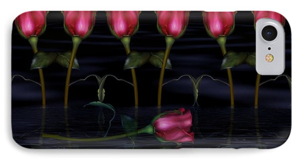 Red Roses In The Moonlight  IPhone Case by Georgiana Romanovna