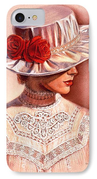 IPhone Case featuring the painting Red Roses Satin Hat by Sue Halstenberg