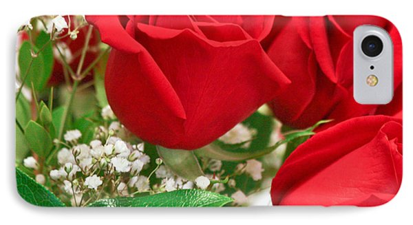 Red Roses With Baby's Breath Phone Case by Ann Murphy