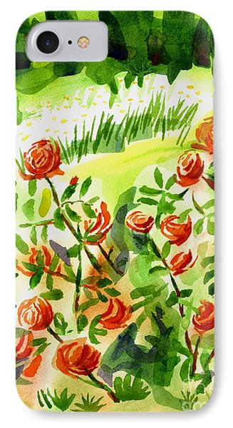 Red Roses With Daisies In The Garden Phone Case by Kip DeVore