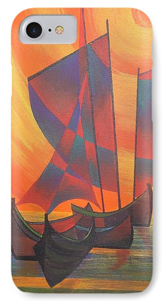 IPhone Case featuring the painting Red Sails In The Sunset by Tracey Harrington-Simpson