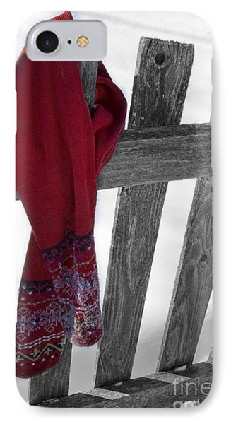 Red Scarf Hanging On Fence IPhone Case by Birgit Tyrrell