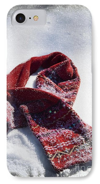 Red Scarf In Snow IPhone Case by Birgit Tyrrell