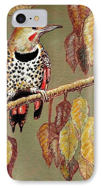 IPhone Case featuring the painting Red Shafted Flicker by VLee Watson