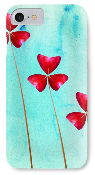 Red Shamrock Trio IPhone Case by Shawna Rowe
