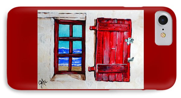 Red Shutter Ocean IPhone Case by Jackie Carpenter