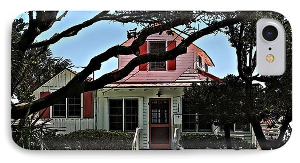 IPhone Case featuring the photograph Red Shutters Cottage by Laura Ragland