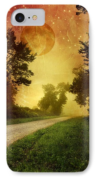 Red Sky Along Starry Pathway IPhone Case by Christina Rollo