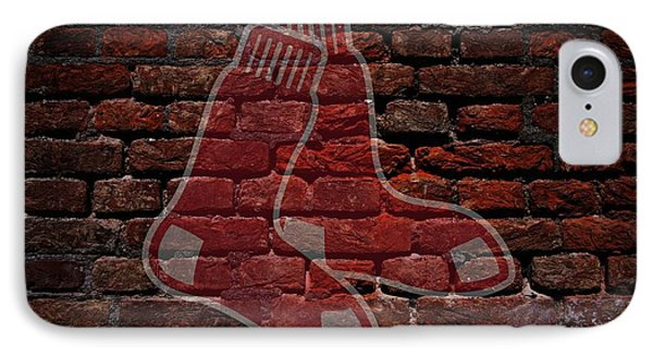 Red Sox Baseball Graffiti On Brick  IPhone Case by Movie Poster Prints