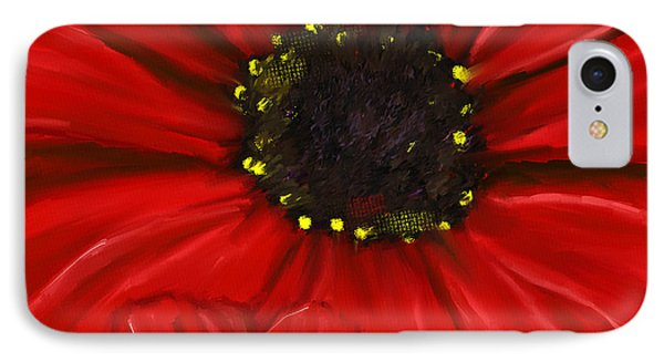 Red Spectacular- Red Gerbera Daisy Painting IPhone Case by Lourry Legarde