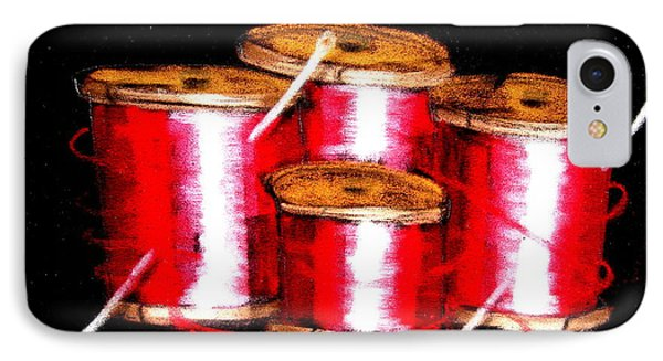 IPhone Case featuring the drawing Red Spools 3 by Joseph Hawkins