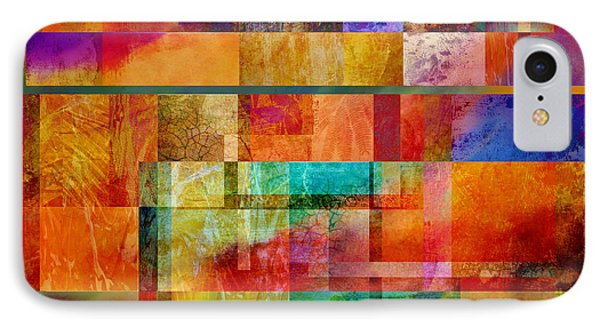 Red Squares Abstract Art Phone Case by Ann Powell
