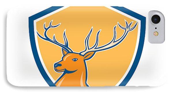 Red Stag Deer Head Shield Cartoon IPhone Case by Aloysius Patrimonio