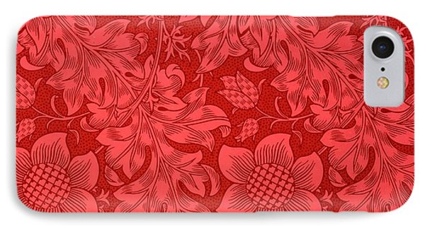 Red Sunflower Wallpaper Design, 1879 IPhone 7 Case by William Morris