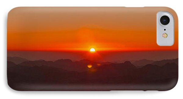 IPhone Case featuring the pyrography Red Sunrise In Sinai Montains by Julis Simo