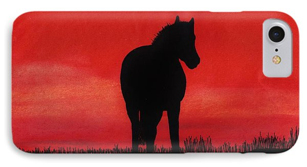 Red Sunset Horse IPhone Case by D Hackett