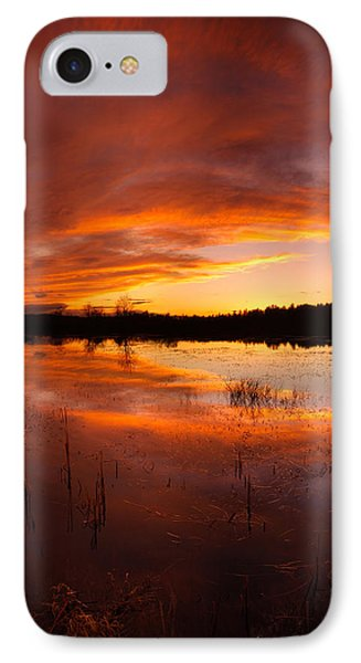 IPhone Case featuring the photograph Red Sunset Over Massabesic Lake by Sebastien Coursol