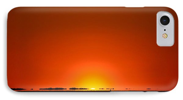 IPhone Case featuring the photograph Red Sunset With Superior Mirage On Santa Rosa Sound by Jeff at JSJ Photography