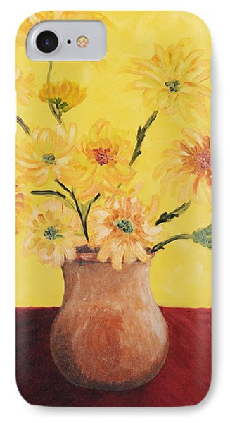 Red Table And Yellow Flowers IPhone Case