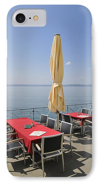 Red Tables Empty Chairs And Blue Sky Phone Case by Matthias Hauser