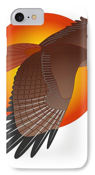 Red Tail Hawk And Sun IPhone Case by Fred Croydon