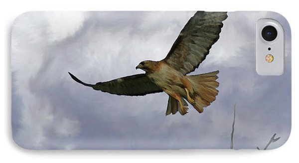 Red Tail Hawk Digital Freehand Painting 1 IPhone Case