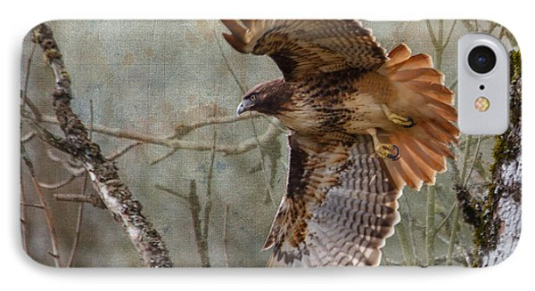 Red-tail Hawk In Flight IPhone Case