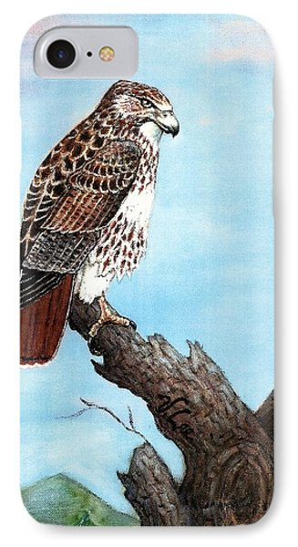 IPhone Case featuring the painting Red Tailed Hawk by VLee Watson