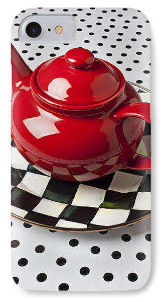 Red Teapot On Checkerboard Plate Phone Case by Garry Gay