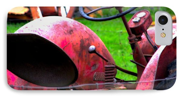 Red Tractor Rural Photography Phone Case by Laura Carter