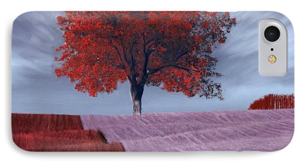 IPhone Case featuring the painting Red Tree In A Field by Bruce Nutting