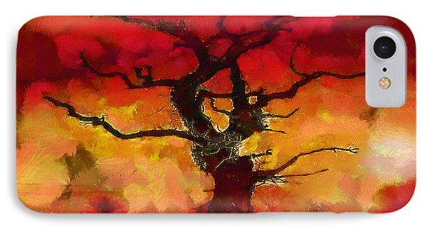 Red Tree Of Life IPhone Case by Pixel Chimp