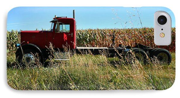 Red Truck In A Corn Field IPhone Case by Lon Casler Bixby