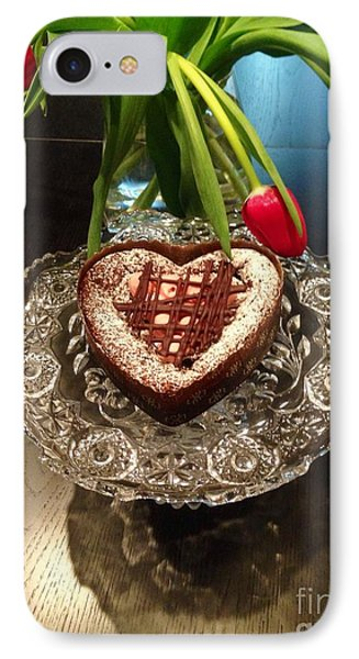 Red Tulip And Chocolate Heart Dessert IPhone Case