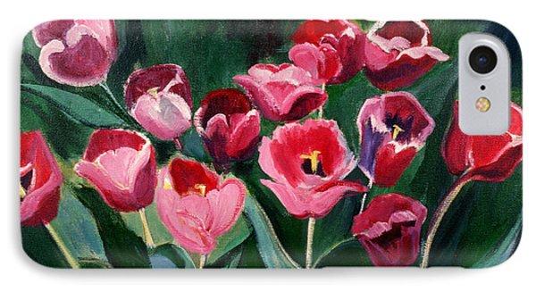 Red Tulips In A Baker's Dozen IPhone Case by Betty Pieper
