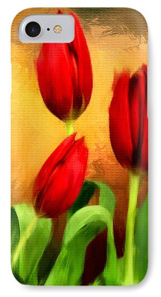 Red Tulips Triptych Section 2 IPhone Case by Lourry Legarde